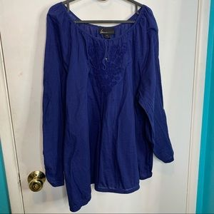 Lane Bryant blue long sleeves embroidered top